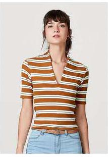 Blusa Feminina Decote Em V Listrada Laranja