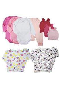 Kit Enxoval Conforto Roupa De Bebe Fofinho 11 Pç Body Pijama Rosa