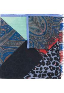 Etro Echarpe Com Patchwork E Franjas - Azul