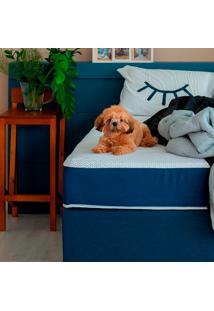 Cama Box Click Solteiro King Com Colchão Firme E Travesseiro Guldi Macio (39X96X203) Azul