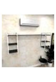 Estante Industrial Escritório Aço Cor Branco 180X30X68Cm (C)X(L)X(A) Cor Mdf Preto Modelo Ind28Pes