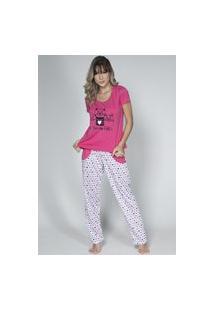 Pijama Feminino Serra E Mar Modas Longo Alice Pink
