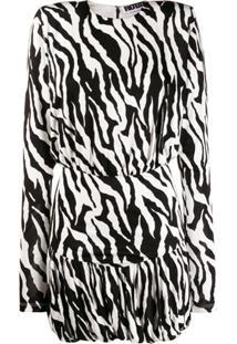 Rotate Vestido Mini Com Estampa Zebra - Preto