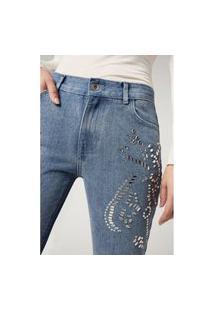 Calça Jeans Boyfriend Com Pedra - Azul G