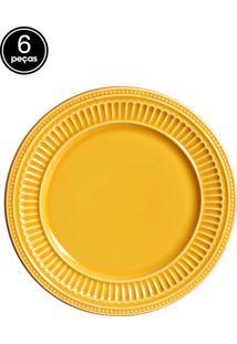 Conjunto 6 Pratos Sobremesa Poppy Amarelo Scalla