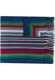 Missoni Cachecol Color Block Com Franjas - Azul