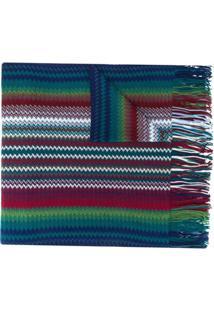 Missoni Cachecol Color Block Com Franjas - Azul