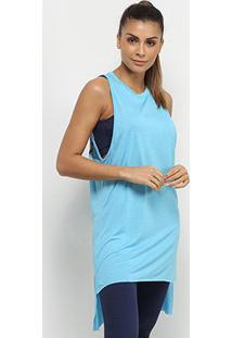 Regata Colcci Fitness Tela Assimétrica Feminina - Feminino-Azul Claro