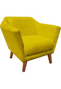 Poltrona Decorativa Lorena Suede Amarelo - D'Rossi