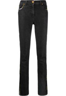 Versace Calça Jeans Slim Com Acabamento Contrastante - Preto