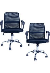 Kit 02 Cadeiras Facthus Premier Office Giratória Preto
