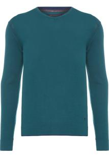 Blusa Masculina Tricot Básico V-Neck - Verde