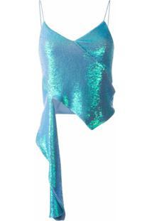 Off-White Blusa Drapeada Com Aplicação De Paetês - Azul