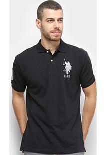 Camisa Polo U.S. Polo Assn Piquet Bordado Masculina - Masculino-Preto