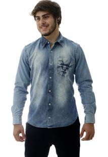 Camisa Jeans Laos Slim Fit Manga Longa Delave Azul
