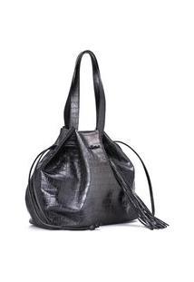 Leather Shopper Bag Degradê Grey