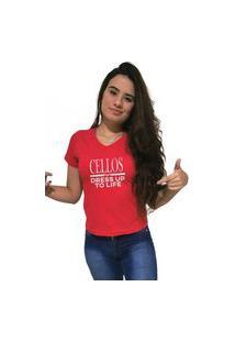 Camiseta Feminina Gola V Cellos Dress Up Premium Vermelho