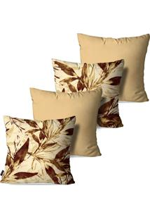 Kit Com 4 Capas Para Almofadas Pump Up Decorativas Estilo Pinturas Caule De Flores 45X45Cm