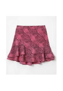 Saia Com Babados Estampa Animal Print Curve & Plus Size | Ashua Curve E Plus Size | Rosa | Gg