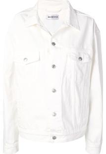 Balenciaga Jaqueta Jeans Oversized - Branco