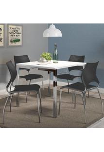 Mesa 1525 Branca Cromada Com 4 Cadeiras 357 Preta Carraro