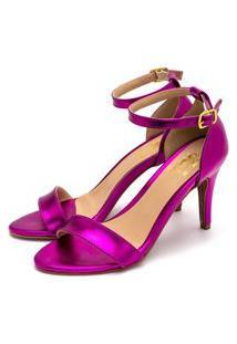 Sandália Feminina Social Salto Alto Em Pink Metalizado Lançamento