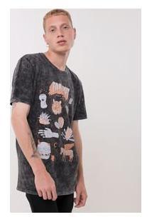 Camiseta Marmorizada Com Estampas