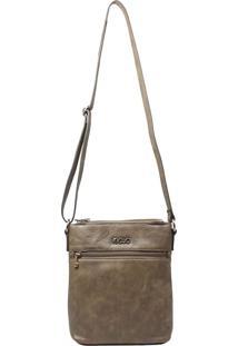 Bolsa Em Couro Transversal Recuo Fashion Bag Cinza