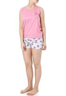 Pijama Curto Feminino Rosa/Cinza