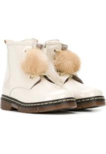 Monnalisa Ankle Boot Com Pompom - Neutro