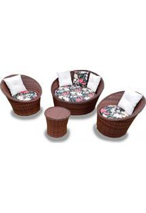 Conjunto De Chaise Nova Delhi Em Fibra Sintética 1 Chaise + 2 Poltronas + Mesa Centro Tecido Bahama Preto