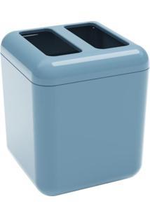 Porta-Escova Cube Coza Azul Com Tampa