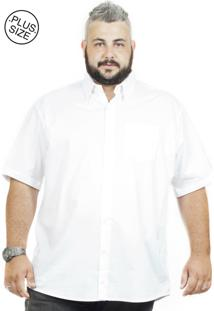 Camisa Plus Size Bigshirts Manga Curta Elastano - Branca