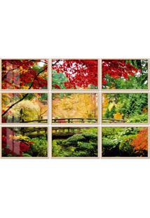 Quadro 180X270Cm Painel Bridge In A Garden Moldura Natural Com Vidro