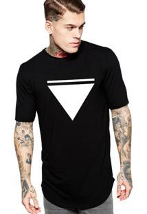 Camiseta Criativa Urbana Long Line Oversized Triangulo - Masculino-Preto