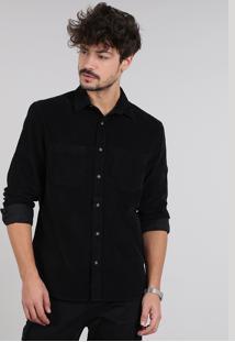 Camisa Masculina Em Veludo Cotelê Com Bolso Manga Longa Preta