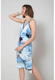 Vestido Oh, Boy! Midi Est Polar Feminino - Feminino-Azul+Branco