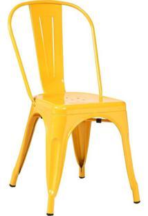 Cadeira Em Aço Com Encosto Berlim Siena Móveis Amarelo