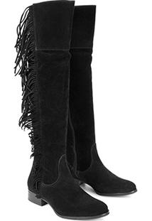 Bota Walkabout Over The Knee Franjas - Feminino-Preto