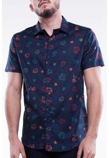 Camisa Mormaii Manga Curta Voile Masculina - Masculino-Marinho