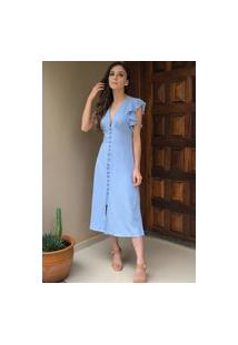 Vestido Midi Evasê Decote V E Botões Azul Celeste