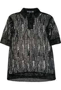 Jil Sander Knitted Polo Top - Preto