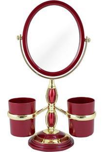 Espelho Com Suporte Laterais- Espelhado & Vermelho Escurjacki Design