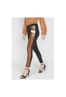Calça Queens Paris Skinny Tricolor Preta/Marrom