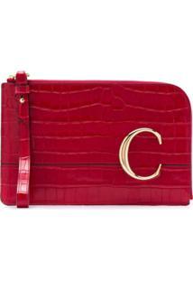 Chloé Clutch Com Efeito Croco 'The C' - Vermelho