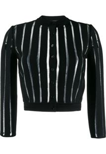 Alexander Mcqueen Sheer Panelled Knitted Cardigan - Preto