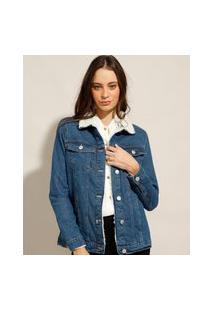 Jaqueta Jeans Com Pelo Azul Escuro