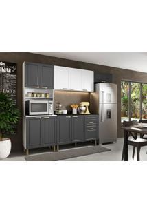 Cozinha Compacta Nevada Iv 10 Pt 3 Gv Grafite E Branca