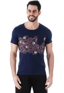 Camiseta Floral Masculina Metropolitan - Marinho
