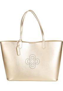 Bolsa Capodarte Shopper Metalizada Feminina - Feminino-Ouro